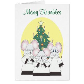 Feliz tarjeta de Krimbles que ofrece a un coro del