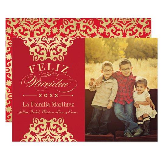 Feliz Tarjeta de la Foto de Navidad en Rojo y Oro