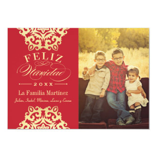 Feliz Tarjeta de la Foto de Navidad en Rojo y Oro Invitation