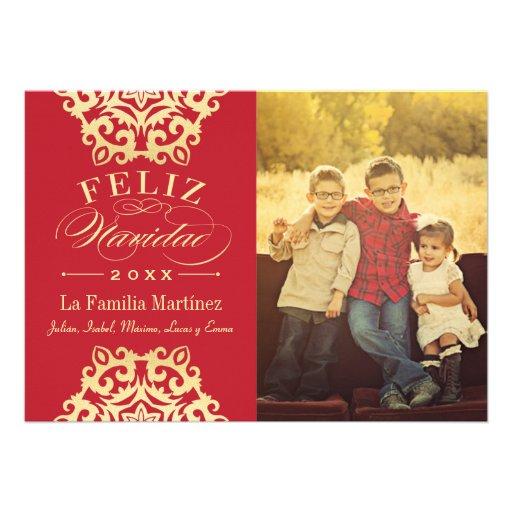 Feliz Tarjeta de la Foto de Navidad en Rojo y Oro Comunicados Personales