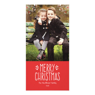 Feliz tarjeta de la foto del navidad de la baya