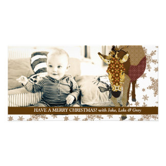 Feliz tarjeta de la foto del navidad del copo de n tarjetas personales