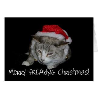 Feliz tarjeta de Navidad gorda Freaking del gato