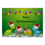 Feliz tarjeta de Navidad linda de los dinosaurios