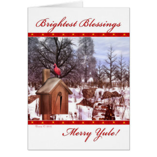 Feliz tarjeta del cardenal del invierno de las