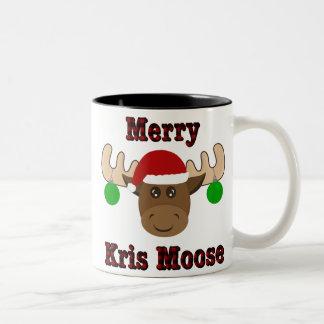 Feliz taza del Dos-Tono del navidad de los alces