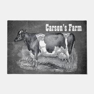 Felpudo Aguafuerte del vintage, vaca blanco y negro,