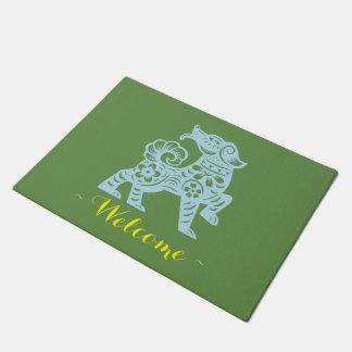 Felpudo Año de Jitaku de estera de puerta del verde del