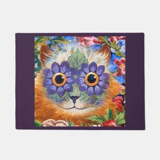 Felpudo Arte púrpura del gato de la flor del Hippie de