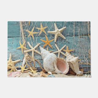 Felpudo Concha temática Shell de la playa, estrellas de