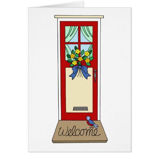 Felpudo de la puerta principal de la casa tarjeta de felicitación
