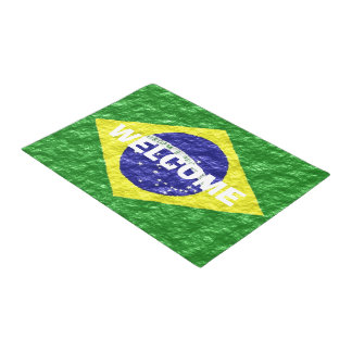 Felpudo Diseño brasileño personalizado de la bandera