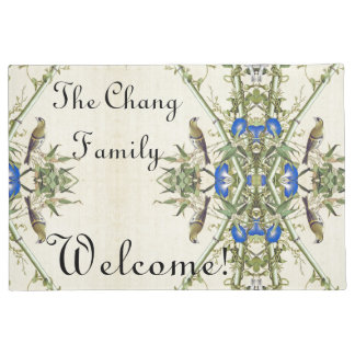 Felpudo Doormat agradable de las flores azules de bambú