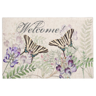 Felpudo Doormat agradable de las flores de mariposa del