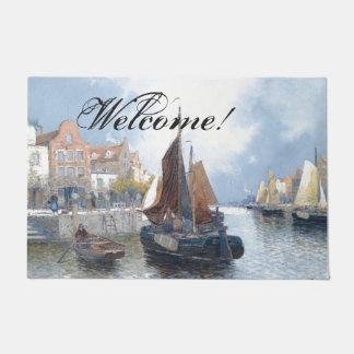 Felpudo Doormat agradable del río de los barcos holandeses