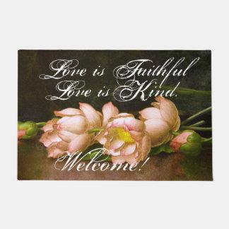 Felpudo Doormat agradable fiel del amor de las flores de