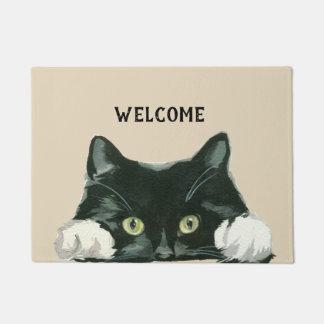 Felpudo doormat blanco y negro de la recepción del gato
