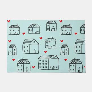 Felpudo Doormat con las casas y los corazones lindos