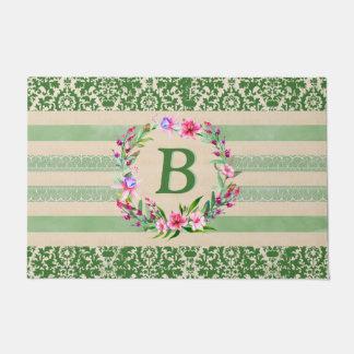 Felpudo Doormat floral audazmente romántico del monograma