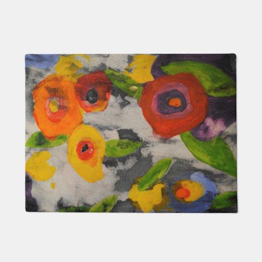 Felpudo Doormat moderno colorido intrépido de las flores