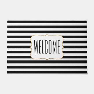 Felpudo Estera de puerta rayada blanco y negro elegante