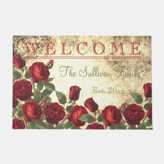 Felpudo Familia AGRADABLE del monograma de los rosas rojos