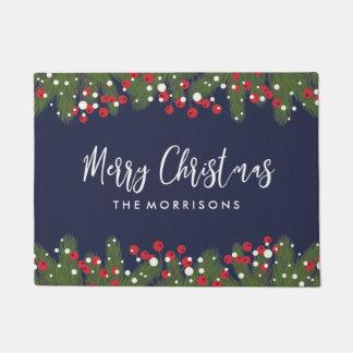 Felpudo Felices Navidad azul de encargo botánico del pino