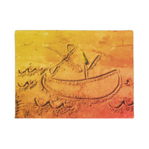 Felpudo figura el canoeing de la playa