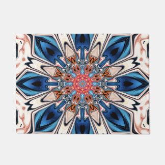 Felpudo Flor azul y anaranjada abstracta