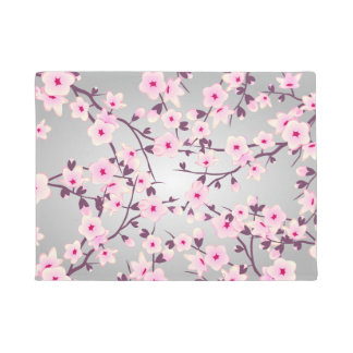 Felpudo Flores de cerezo grises rosadas florales