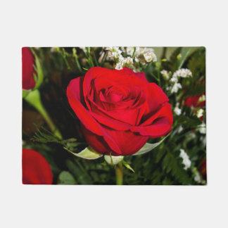 Felpudo Foto del ramo de los rosas rojos