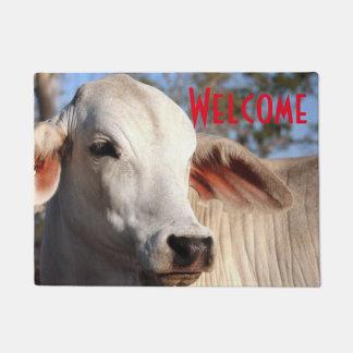 Felpudo Granja blanca hermosa de la fotografía del ganado