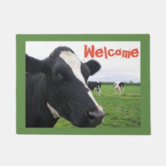 Felpudo Granja divertida de la vaca de la granja blanco y