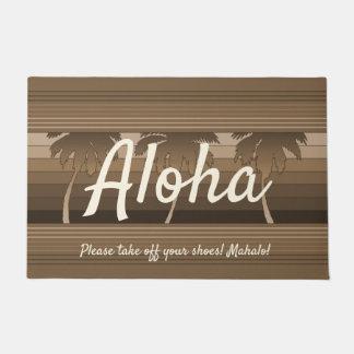 Felpudo Hawaiana rayada Brown de las palmas hawaianas de