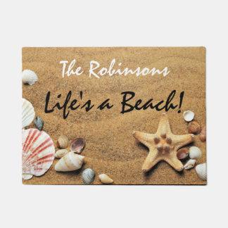 """Felpudo La """"vida es una playa"""" con los Seashells y las"""