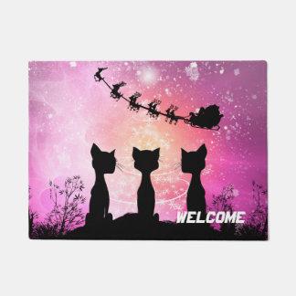 Felpudo Los gatos miran al cielo a Papá Noel