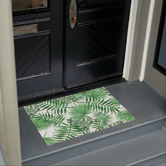 Felpudo Modelo verde tropical del verano de las hojas de
