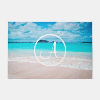 Felpudo Monograma del personalizado de la foto de la playa