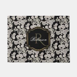 Felpudo Monograma floral blanco del negro el | del vintage