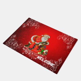 Felpudo Navidad, Papá Noel con los regalos en backgroun