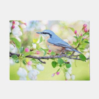 Felpudo Pájaro, árbol y flores azules