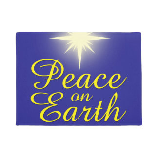 Felpudo Paz en el Doormat del día de fiesta de la estrella