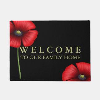 Felpudo Recepción a nuestras amapolas rojas del domicilio