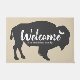 Felpudo Recepción gris rústica del apellido del bisonte y