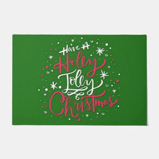 Felpudo Tenga navidad alegre de un acebo