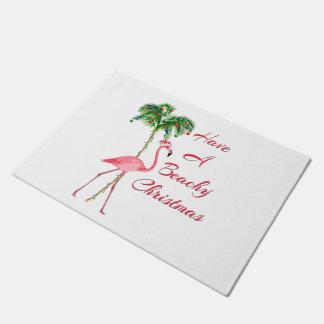 Felpudo Tenga un flamenco con playas del navidad