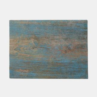 Felpudo Textura de madera de la falsa playa azul