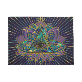 Felpudo Todo el ojo místico que ve en la flor de Lotus