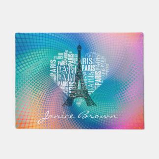 Felpudo Torre Eiffel y inscripciones París en corazón