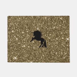 Felpudo unicornio chispeante de oro